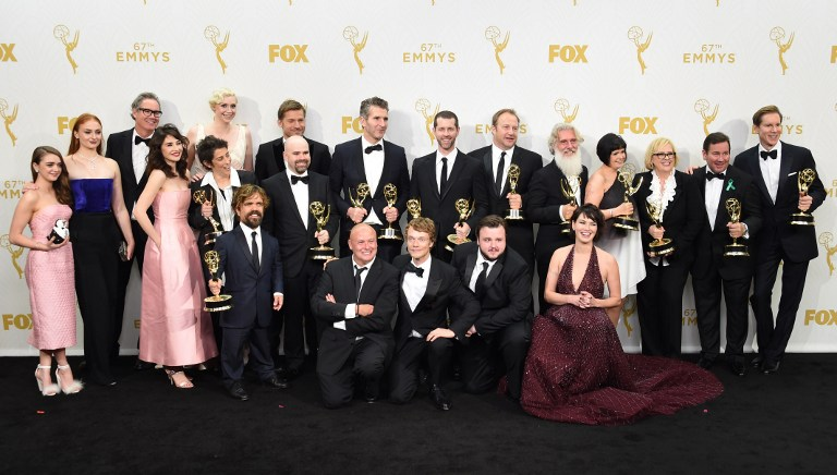 The Cast and crew from Game of Thrones pose in the Press Room with their awards for Outstanding Drama Series during the 67th Emmy Awards on September 20, 2015 at the Microsoft Theater in Los Angeles, California. AFP PHOTO / VALERIE MACON